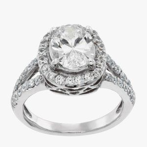 White gold 14k CVD 2.50 carats oval and round diam